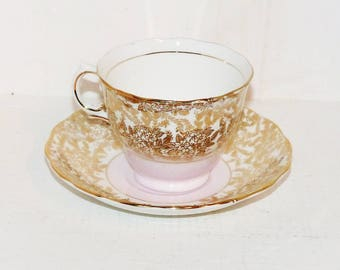 Colclough Gold Chintz with Pink  Vintage Teacup and Saucer,  English  Tea Cup and Saucer Signed - 791