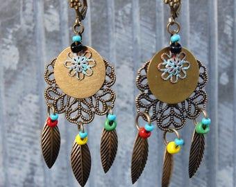 Dream Catcher Earrings, Tribal Earrings, Bohemian Earrings, Rasta Hippy Earrings, Boho Jewelry, Dangle Earrings, Ethnic, Gift for her, Women