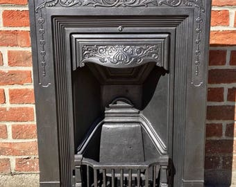 Original 1894 Victorian Cast Iron Fireplace - All In One With Great Detail
