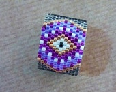 Purple Evil Eye seed bead ring, Beaded ring, Silver band ring, Modern wide band ring, Gift for her, Valentine's gift, Peyote ring
