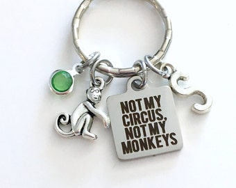 Gift for Coworker or Boss, Not my Circus, Not my Monkeys Keychain, Funny Co-worker, Personalized Keyring, Key Chain Retirement letter custom