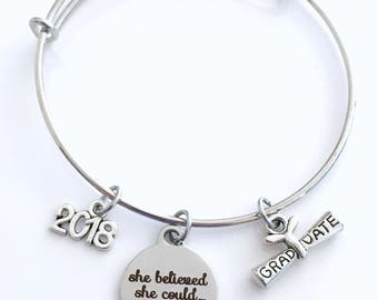 Graduation Gift for Under 20 dollars, Charm Bracelet Junior High School 2018 Silver Bangle Jewelry She believed she could so she did 2017