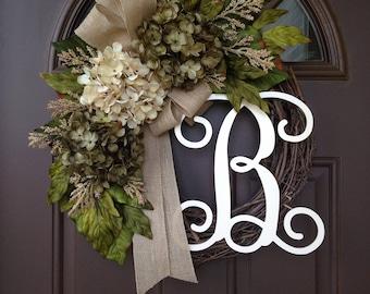 Everyday Wreath - Monogram Wreath - Year Round Wreath - All Season Hydrangea  Wreath - Grapevine Wreath with Burlap Bow - Monogrammed Wreath