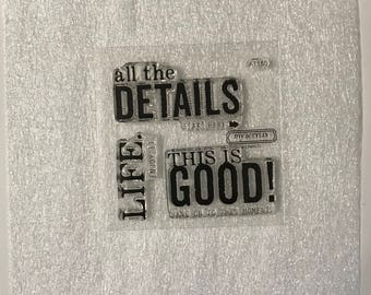 A1160 / This Is Good / Stamp Set / Close To My Heart / CTMH / Acrylic Stamp Set / Clear Stamp Set / Details / Life / Word Stamps