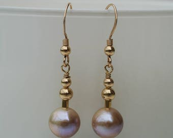 Natural Golden Pink Freshwater Pearl Drop Earrings - Natural Colour Freshwater Pearl Earrings with 14K Gold Filled Hooks and Beads