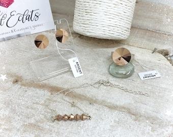 Parures Clous d'oreilles + Bagues Swarovski® + Bracelet et Argent 925 - Doré Rose