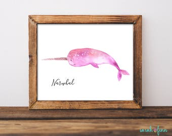 Narwhal Print, Narwhal Art, Narwhal Gift, Nursery Decor, Whale, Childrens Room Kid Room Art, Ocean, Narwhale, Nautical, Instant Download