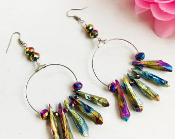 Titanium Quartz earrings, iridescent earrings, Faceted quartz earrings, Crystal quartz earrings,iridescent earrings, iridescent hoop, Hoop
