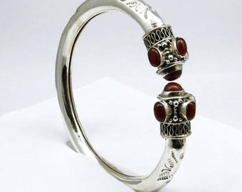 Red Onyx 925 Sterling Silver Bangle