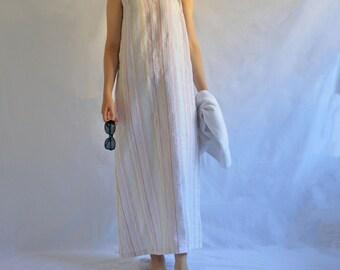 The Beach Dress Maxi- Women's Linen A-line Tank Dress in Pastel Stripe