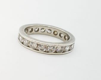 Vintage Sterling Silver & CZ Eternity Band - Size 7