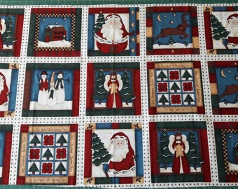 Holiday Quilt Fabric Cheater Cloth, santa, reindeer, angel, snowman, faux quilting squares, 26 inch remnant