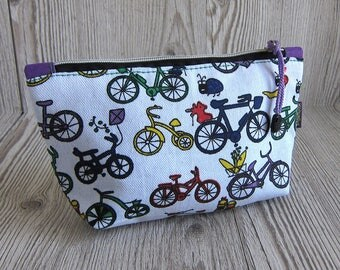 Bicycle print Make up bag, Makeup bag, Cosmetic bag, Toiletry storage, Zip pouch, Pencil case, Cyclist gift