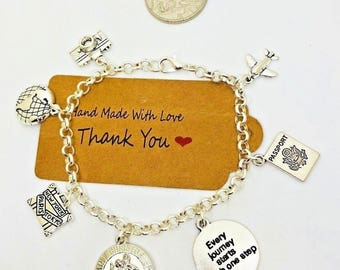 St Christopher charm bracelet, world travel, Gap year, wanderlust, student gift
