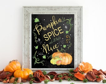 Pumpkin Spice Season - Fall Decor - Pumpkin Spice - Autumn Decor - Chalkboard Art - Fall Chalkboard - Digital File