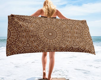 Brown Beach Towel, Lightweight Brown and White Mandala Blanket for Beach or Pool, Towel Cover Up