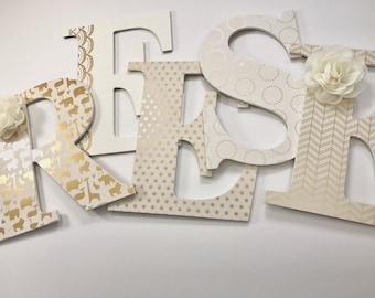 Gold Neutral Nursery Letters, Girls Jungle Themed Nursery Letters