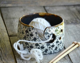 Vintage black roses yarn bowl handmade pottery