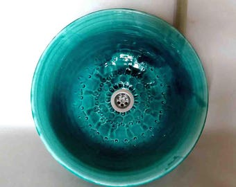Washbasin with pattern / Egyptian/green Ø 40 cm height 15 cm