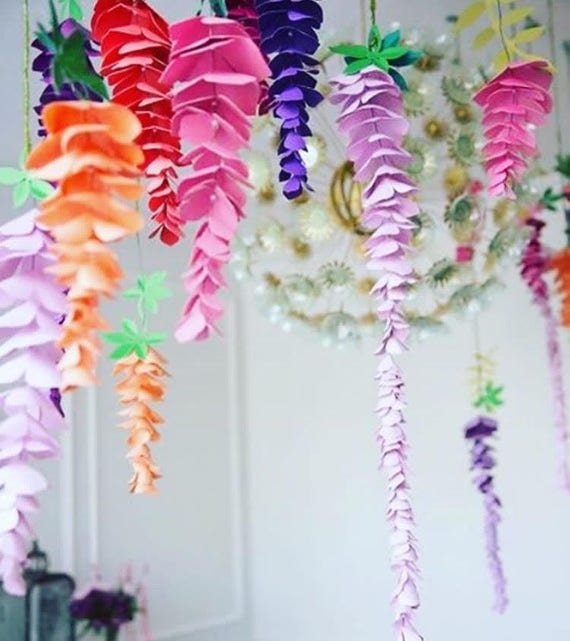 Wisteria paper flowers hanging wedding flowers svg paper flower il570xn mightylinksfo