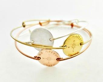 Best Friend Bracelet | 2 3 4 Sisters | Adjustable | Friendship Bracelet | Compass Bracelet | Personalized Disc Bracelet