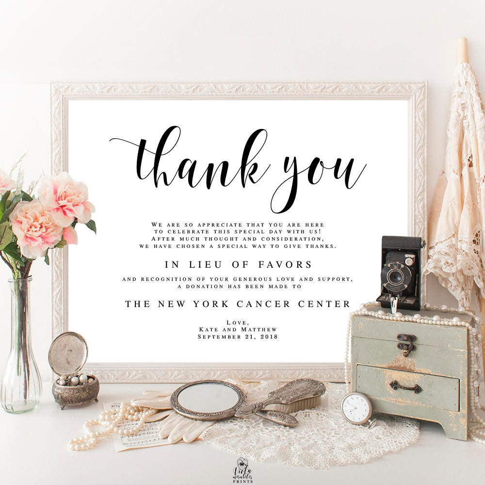 Wedding donation template In lieu of favors template In lieu of ...