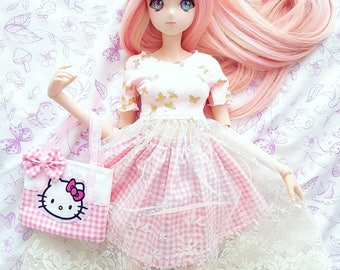 Sd / Dd - Pink and Cream Laced Dress + Checkered Skirt Set