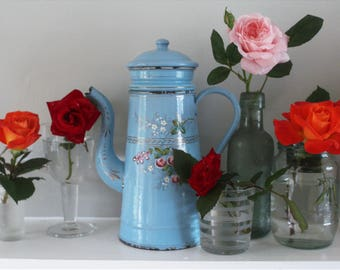 Vintage Romantic French Blue Enamel Coffee Pot with Pink Roses
