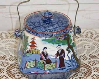 Vintage 1930s Art Deco Kent, Old Foley, Oriental, Fenton, Ceramic, Lidded Biscuit Barrel or Cookie, Storage Jar