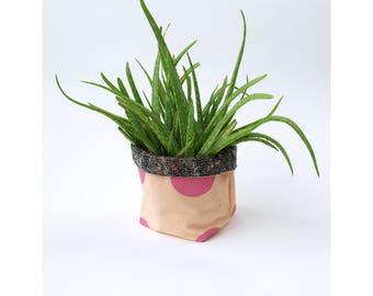 Linen storage pot, planter, coral 100% linen with screenprinted pink polka dot design, recycled grey fabric lining