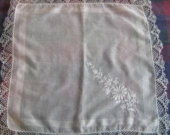 Handkerchief, vintage white lace handkerchief