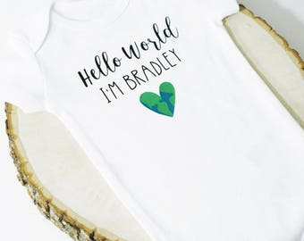 Hello World Personalized Onesie | Baby Name | Welcome Gift