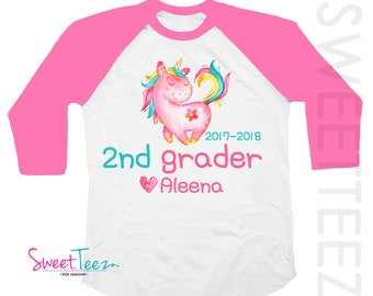 2nd Grader Shirt Unicorn Shirt Second Grade Shirt Hot Pink Kids Hip Raglan Back to School Shirt Heart Personalized with Name and School Year