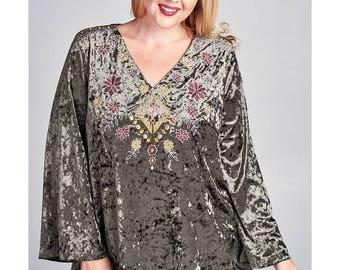 Plus Size Tunic, Plus Size Blouse, Plus Size Top, Velvet Blouse, Velvet Top, Plus Size Boho Top, Plus Size Velvet Blouse, Embroidered Top
