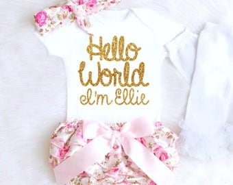 Floral Baby Girl Coming Home Outfit, HELLO WORLD Outfit Girl Going Home Outfit, Personalized Newborn Outfit Summer Baby Outfits 6
