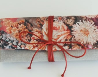 Travel Jewelry Roll/Unique Bridesmaid Gift/Brown Floral Jewelry Roll/ Linen Jewelry Roll/Storage Jewelry Roll/ Brides Gift/Organizer Jewelry