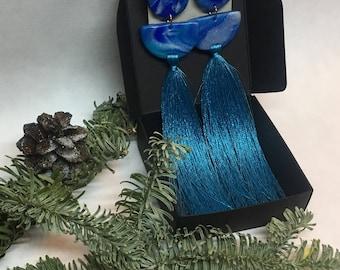Long blue and silver colour tassel earrings