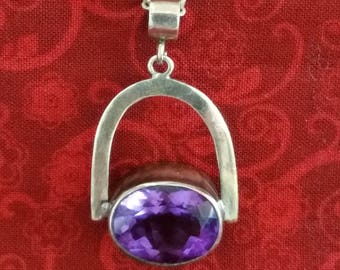 CP092 Vintage Sterling Silver Necklace with Sterling Silver Pendant with Large Amethyst