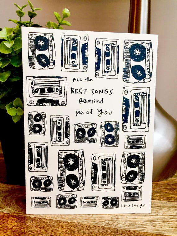 Mix Tape Love Card, mix tape greeting card, First Anniversary card for him, music lover card, mix tape retro card, Valentine's Day Card