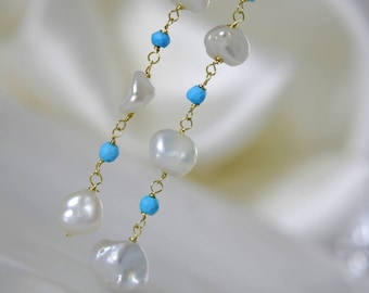 Meringue earrings keshi pearls with turquoise 333 gold or gold plated