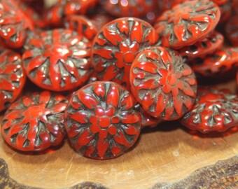 Czech Glass Beads, Dahlia Flower, 14mm, 10 Beads