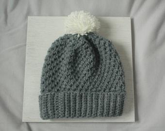 Gray Handmade Crocheted Pompom Beanie Hat