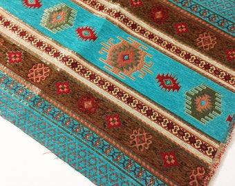 Chenille Turquoise Ethnic Tribal Style Chenille Upholstery Fabric,Aztec Navajo Jacquard Fabric,Geometric Design Kilim Fabric,Meter/Yard