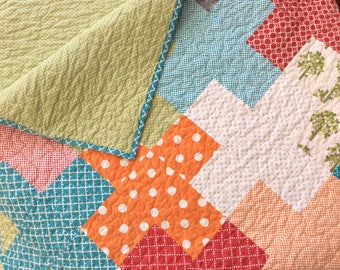 Modern Lap Quilt for Sale, Handmade Quilted Throw, Red Blue Green Orange Homemade Blanket, Patchwork