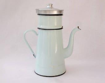 Vintage French enamelware coffee pot with filter, French enamel filter coffee pot, ancienne caftière émaillée, blue  enamel 1940s coffee pot