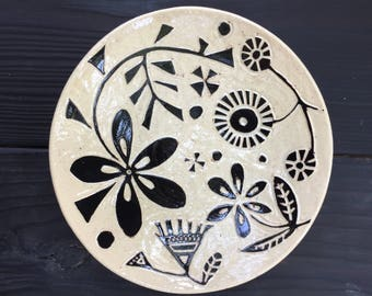Hand carved sgraffito bowl
