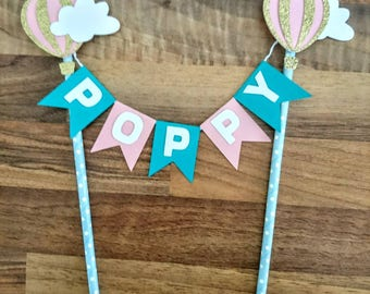 Hot Air Balloon cake bunting, Thirtieth Birthday, Thirty Cake Topper, Pastel, Cake topper, First Birthday Bunting, 1st Birthday