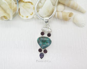 Chrysocolla Fresh Water Pearl Amethyst Sterling Silver Pendant and Chain