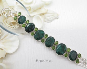 Raw Cut Emerald and Peridot Sterling Silver Bracelet