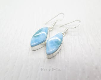 Unique Shape Larimar Sterling Silver Earrings